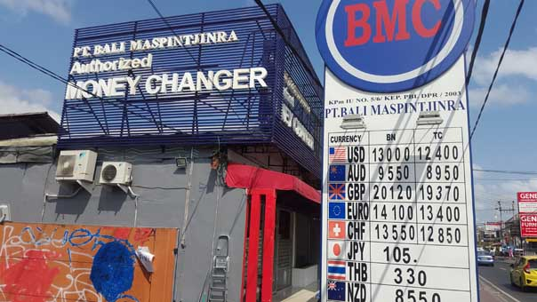 Money changer Bali bureau de change