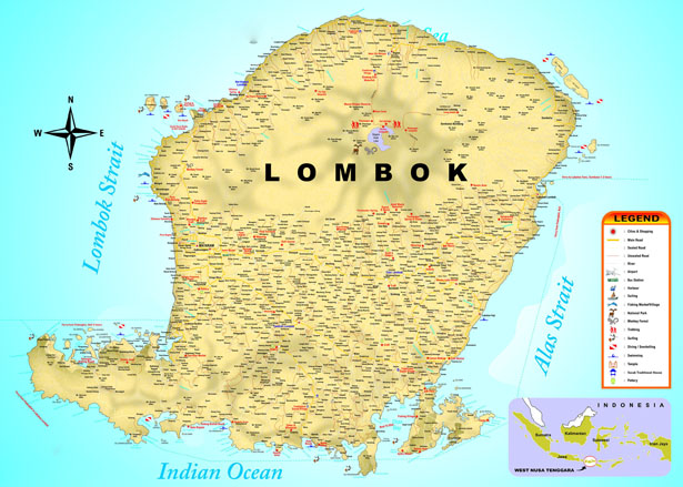 Carte Lombok Generale Lombok Map Blog Bali