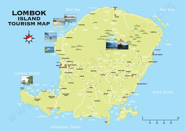 Carte Lombok Touristique Lombok Map Blog Bali
