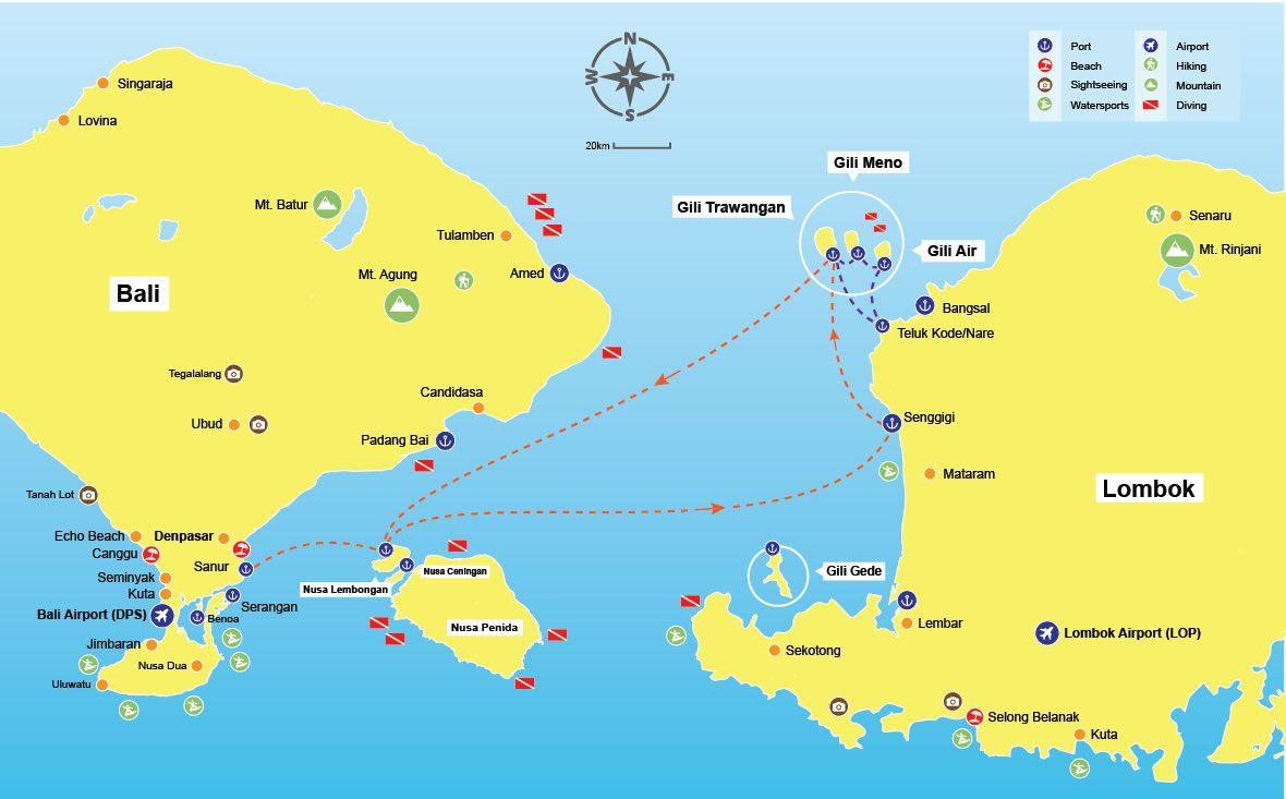 Carte Bali Et Gili.Fastboat Scoot Cruise Nusa Lembongan Gili Lombok