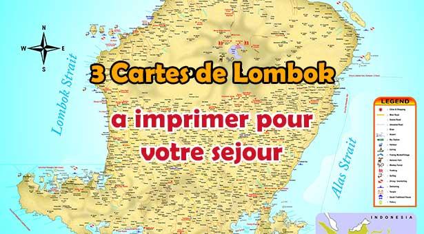Carte de Lombok, Carte Touristique de Lombok et Carte des régions de Lombok